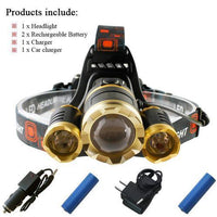 Waterproof Headlamp with Rechargeable Batteries Package C / 3 x CREE XML T6 LED Headlight Headlamp