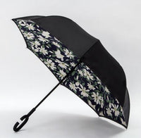 Wind Proof Reverse Folding Umbrella Floral - White Accessories