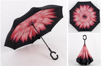 Wind Proof Reverse Folding Umbrella Pink Daisy Accessories