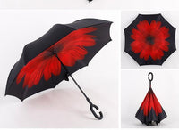 Wind Proof Reverse Folding Umbrella Red Daisy Accessories