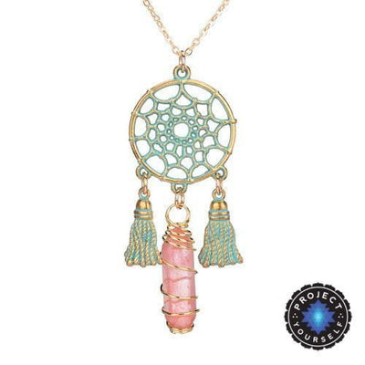 Wire Wrapped Natural Crystal Dream Catcher Boho Pendant Necklace Cherry Quartz Necklace