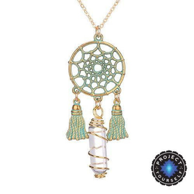 Wire Wrapped Natural Crystal Dream Catcher Boho Pendant Necklace Clear Quartz Necklace