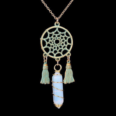 Wire Wrapped Natural Crystal Dream Catcher Boho Pendant Necklace Necklace