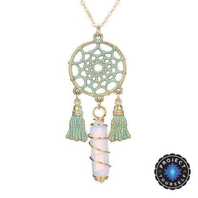 Wire Wrapped Natural Crystal Dream Catcher Boho Pendant Necklace Opal Necklace
