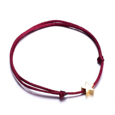 Wishes Lucky Handmade Rope Bracelet Wine Red Bracelet