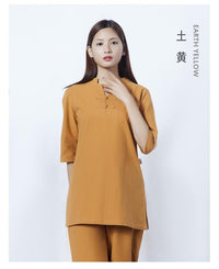 Womens Cotton Meditation 2-Piece Set Earth Yellow / S Clothing