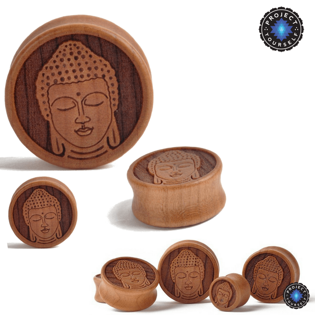 tunnel buddhist single men Women men girls boys baby  to 1/2 (12mm) steel single flare with  peki pair of antique lotus buddha screw-fit tunnel plugs.