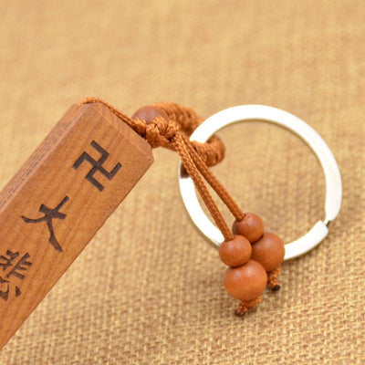 Wooden Hand Carved Heart Sutra Key Ring Keychains
