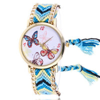 Woven Braided Bracelet Butterfly Watch D Watch