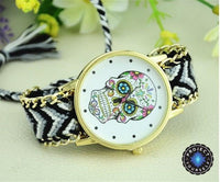 Woven Braided Bracelet Sugar Skull Watch Black Watch