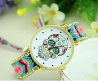 Woven Braided Bracelet Sugar Skull Watch Candy Watch