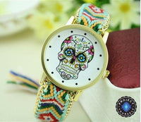Woven Braided Bracelet Sugar Skull Watch Green Watch