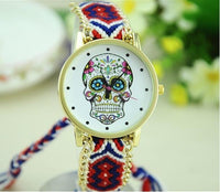 Woven Braided Bracelet Sugar Skull Watch Red Watch