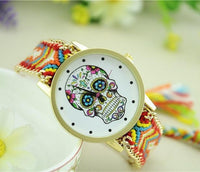 Woven Braided Bracelet Sugar Skull Watch Yellow Watch