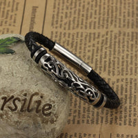 Woven Leather Bracelet with Stainless Steel Tribal Hollow Cylinder Accent Bracelet