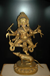 Ganesh, Dancing, silver and gold