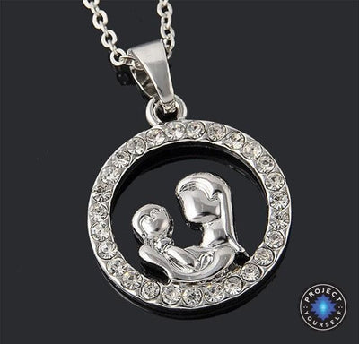 """You Are My World"" Mother & Child Crystal Studded Pendant Necklace Necklace"