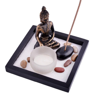 Zen Buddha Tealight Candle and Rock Incense Holder Plus FREE Incense Incense Holder