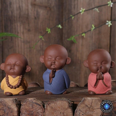 Zen Monk Cute Ceramic Figurine 3pcs Buddha Statue