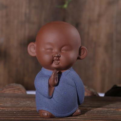 Zen Monk Cute Ceramic Figurine Blue 1 Buddha Statue