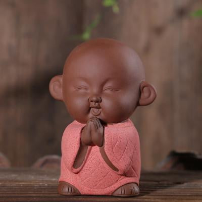 Zen Monk Cute Ceramic Figurine Red 1 Buddha Statue