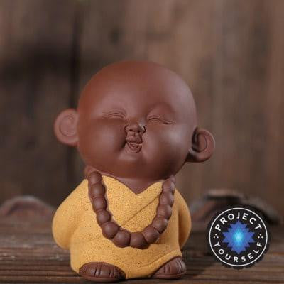 Zen Monk Cute Ceramic Figurine Yellow 1 Buddha Statue