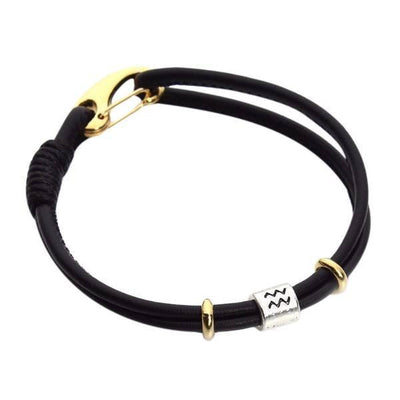Zodiac Charm Double Layer Leather Bracelet Aquarius Bracelet