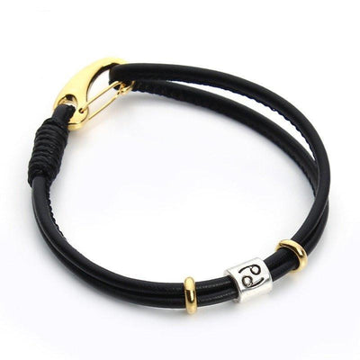 Zodiac Charm Double Layer Leather Bracelet Cancer Bracelet