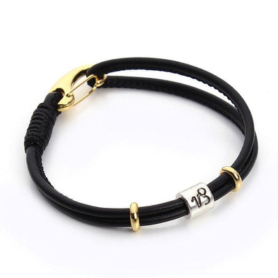 Zodiac Charm Double Layer Leather Bracelet Capricorn Bracelet