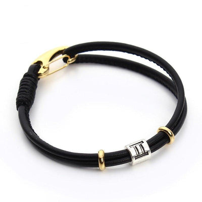 Zodiac Charm Double Layer Leather Bracelet Gemini Bracelet