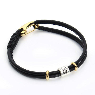 Zodiac Charm Double Layer Leather Bracelet Leo Bracelet