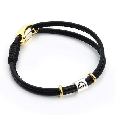 Zodiac Charm Double Layer Leather Bracelet Libra Bracelet