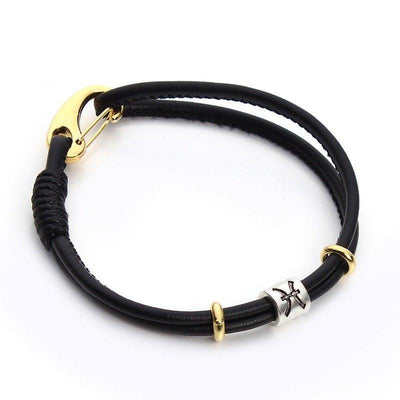 Zodiac Charm Double Layer Leather Bracelet Pisces Bracelet