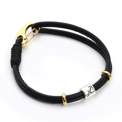 Zodiac Charm Double Layer Leather Bracelet Sagittarius Bracelet