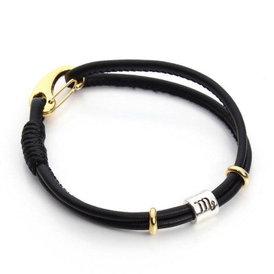 Zodiac Charm Double Layer Leather Bracelet Scorpio Bracelet