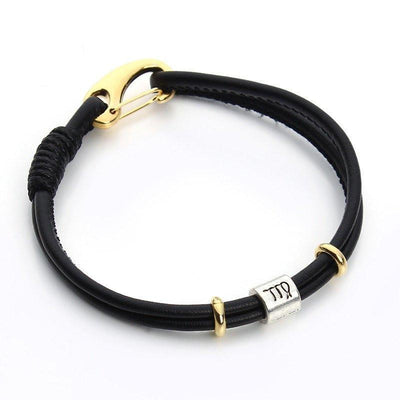 Zodiac Charm Double Layer Leather Bracelet Virgo Bracelet