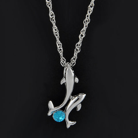 Crystal Chain Dolphin Necklace
