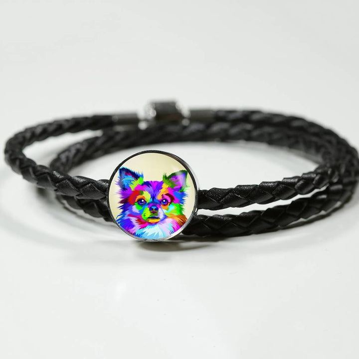 Chihuahua Circle Charm Leather Bracelet