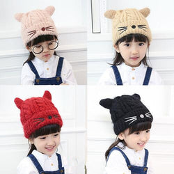 Add Plush thick cartoon cute baby cat ear cap 1-3-6 years old men and women's cap