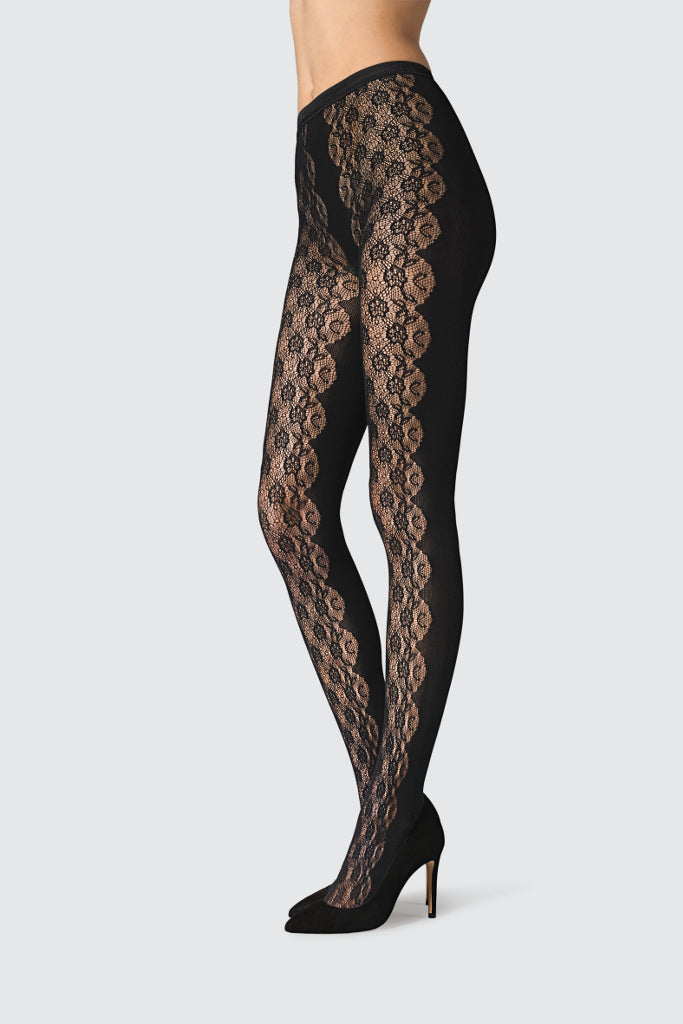76ca93210 KAILA 1114 Net tights with filigree flower design on the front. The ...