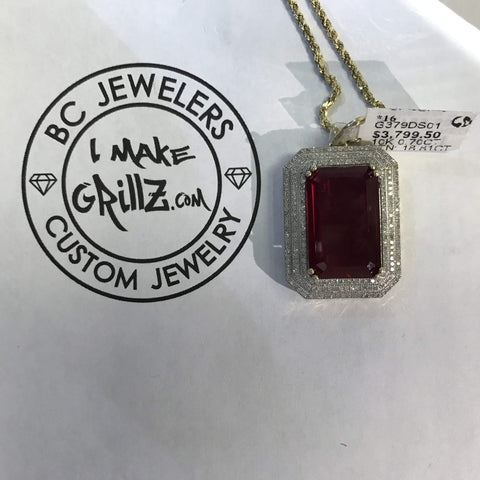 Pinkish Red Rectangular Diamond Pendant