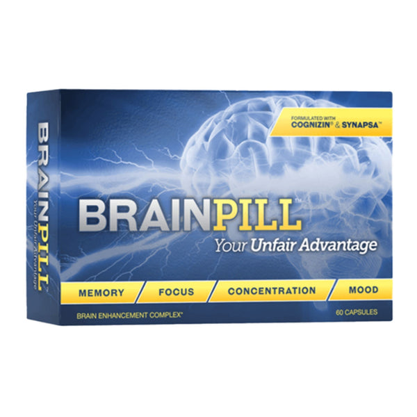 Blue Box Front BrainPill Your Unfair Advantage Memory Focus Concentration Mood Brain Enhancement Complex With Cognizin and Synapsa