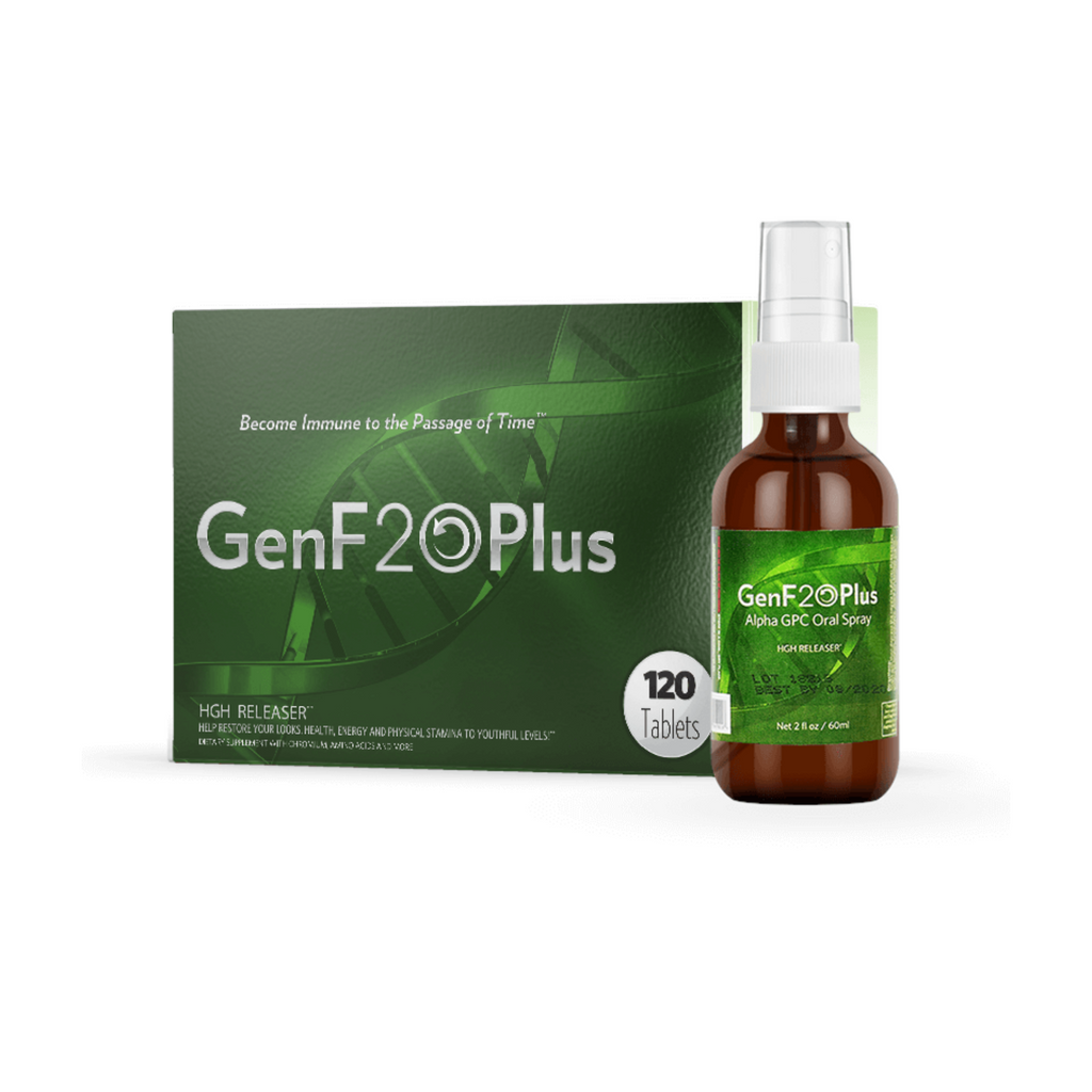Green Box GenF20 Plus 120 Tablets HGH Releaser Amber Spray Bottle Green Label GenF20 Plus Alpha GPC Oral Spray GHG Release Net 2 fl oz