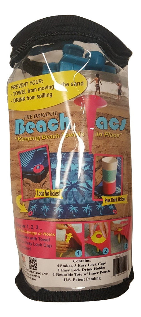 Beachtacs - 8pc Set Includes Carrying Tote with Inside Pouch Beach Tacs