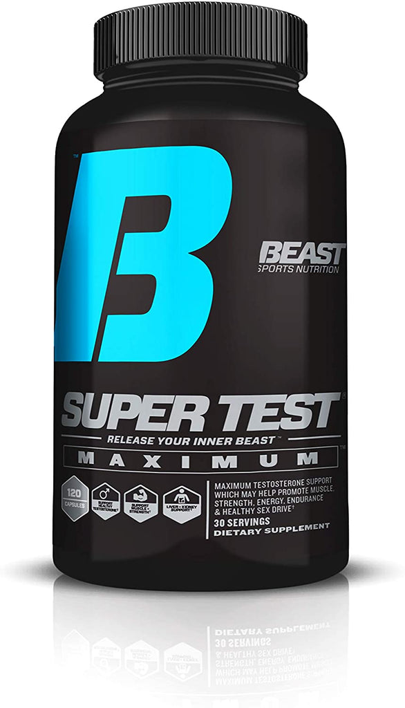 Beast Sports Nutrition - Super Test Maximum Caps - 5 Powerful Test Boosters - Build Muscle and Lose Fat - Increase Nitric Oxide & Boost Libido 120 capsules