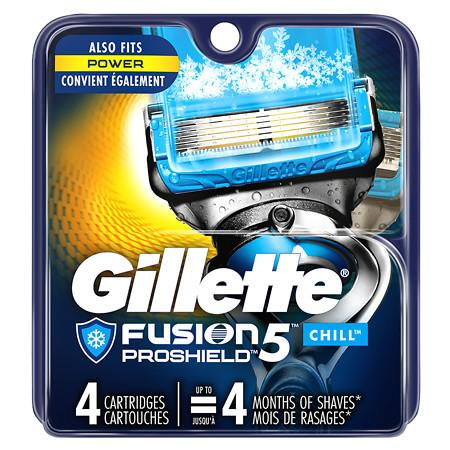 Gillette Fusion 5 ProShield CHILL Refills 4 Cartridges Fits All Fusion 5 Handles