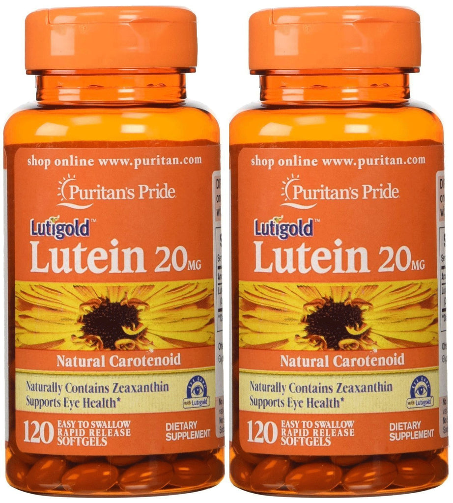Lutein 20 Mg with Zeaxanthin 2-pack Puritan's Pride 120 Softgels (240 Total)