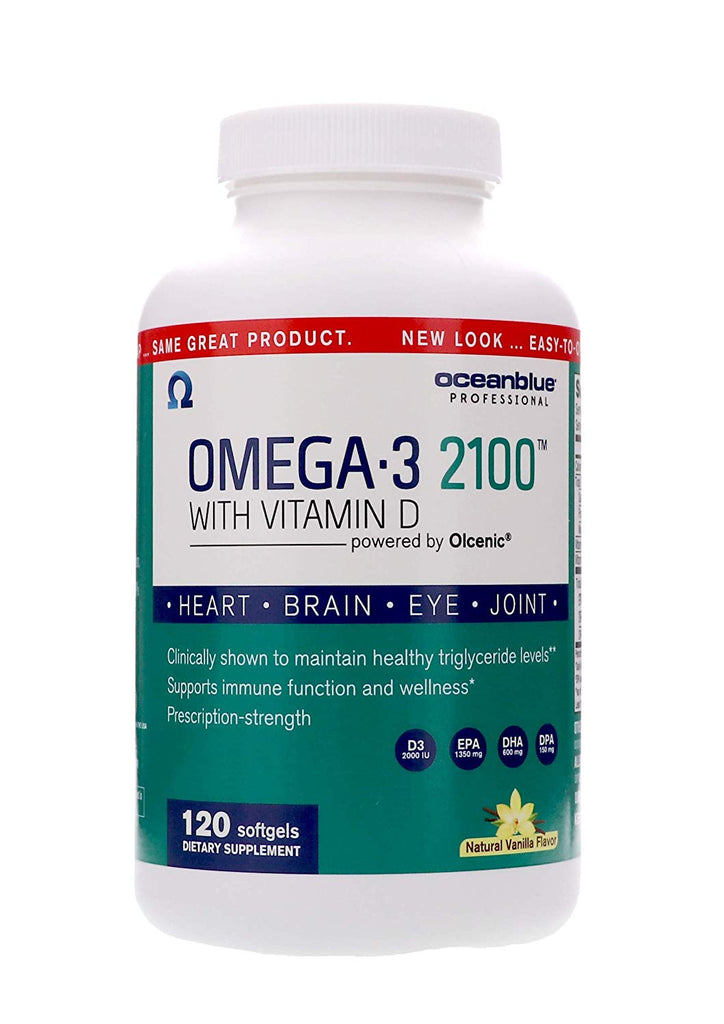 Ocean Blue Omega-3 2100 Olcenic Blend with Vitamin D Vanilla Flavor 120 Count