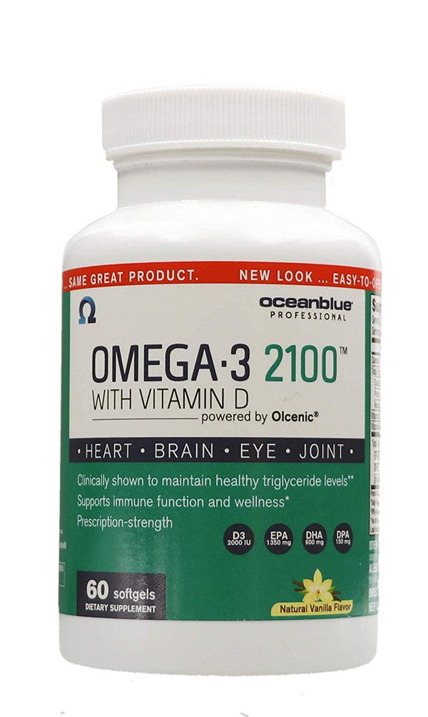 Ocean Blue Omega-3 2100 Olcenic Blend with Vitamin D Vanilla Flavor 60 Count