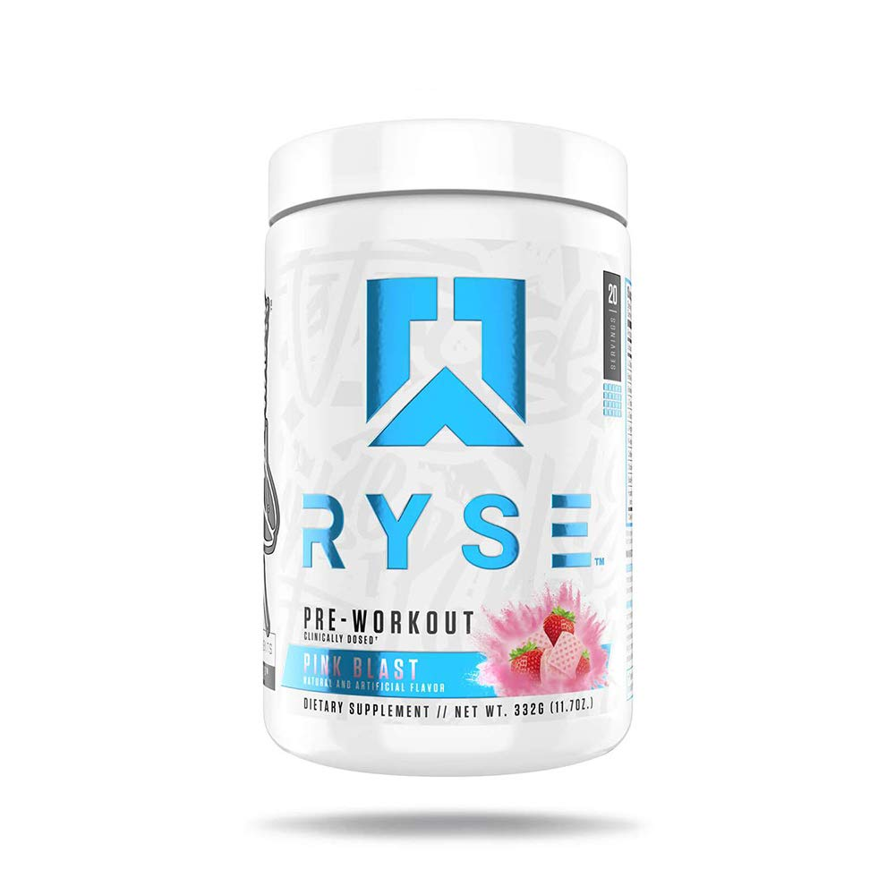 Ryse PRE Workout | Ryse Up Supplements | 20 Servings (Pink Blast)